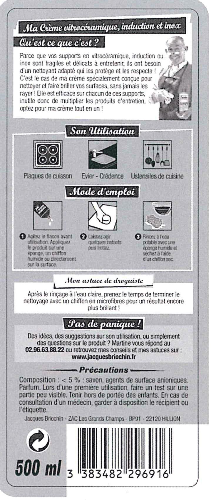 Produit Pour Nettoyer Plaque À Induction crème vitrocéramique induction et inox
